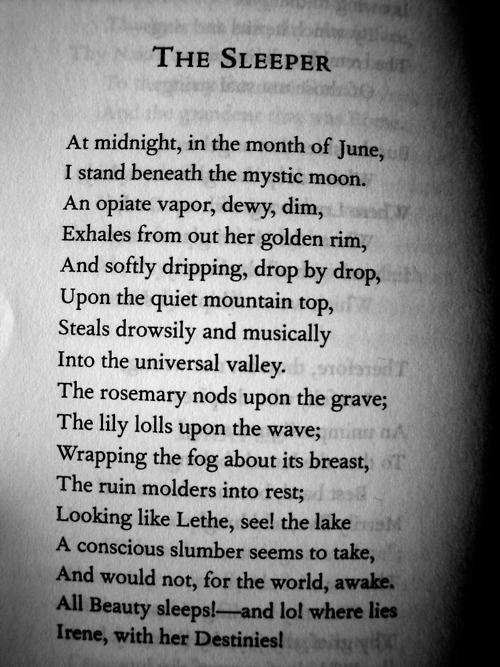 """At midnight, at the month of June, i stand beneath the mystic moon"" -The Sleeper by Edgar Allan Poe"