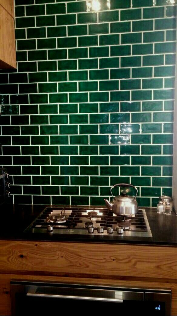 Amazing Dark Green Metro Tiles Backsplash.
