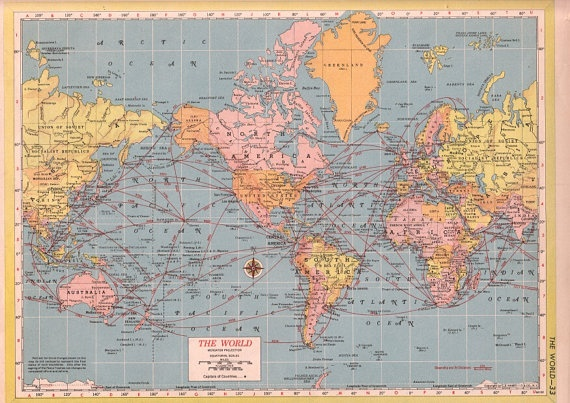 1950s World map vintage world travel map wall map school map World Travel