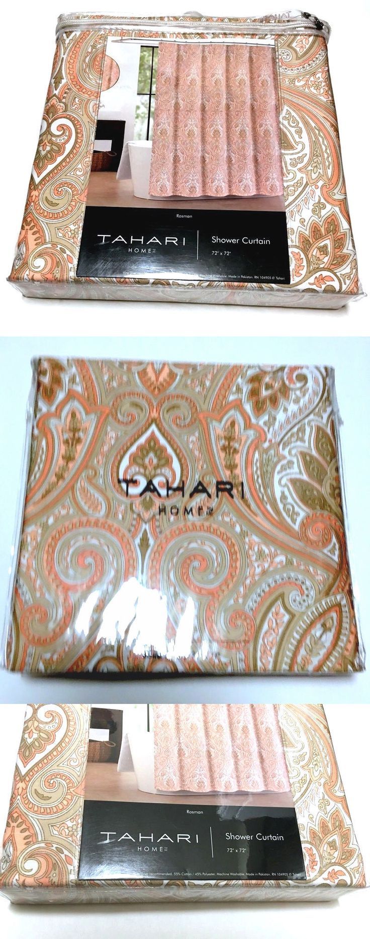 Christmas shower curtains on ebay - Shower Curtains 20441 Tahari Home Rosman Pink Coral Orange Beige Paisley Fabric Shower Curtain 72