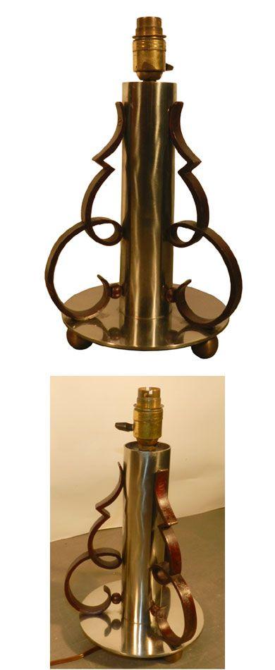 Pied De Lampe Epoque Art Deco En Metal Chrome Et Fer Forge