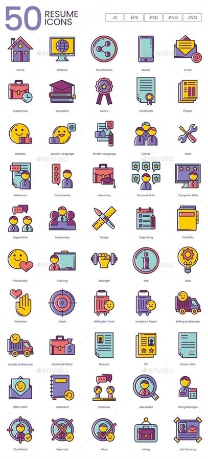 Simple Tips To Help You Get A Job Resume icons, Icon