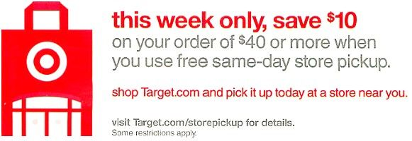Target In-Store Pickup Deal - $10 off a $40 Purchase - http://mommysplurge.com/2014/07/target-in-store-pickup-deal-10-off-a-40-purchase/