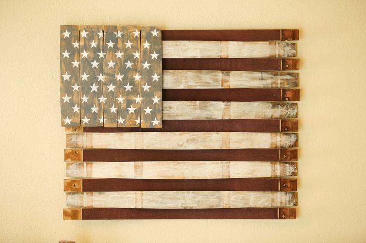 American Flag - Wood Wall Hang - Wooden American Flag Sign - Wine Barrel American Flag - Reclaimed American Flag - Rustic American Flag Sign by Martellas on Etsy https://www.etsy.com/listing/252273942/american-flag-wood-wall-hang-wooden