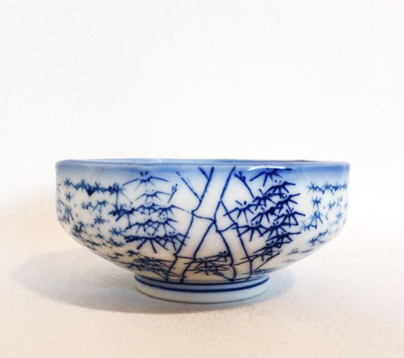 Vintage Oriental Rice Bowl - Asian - Sushi - Blue and White