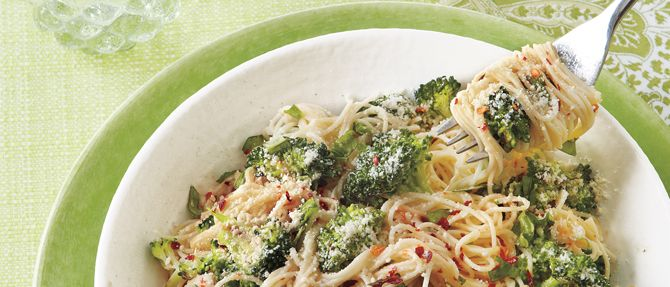 All You's Garlicky Angel Hair with Roasted Broccoli