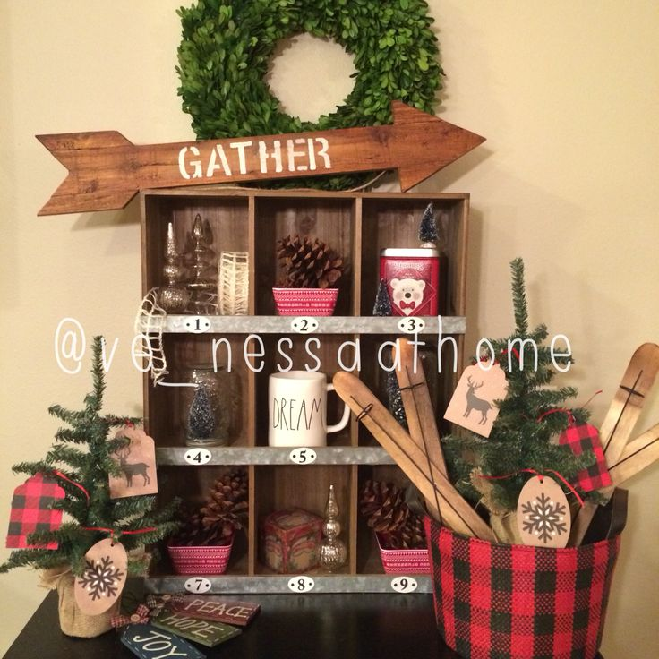 I went a little crazy with my Target dollar spot finds - plaid bucket, skis, gift tags & trees.