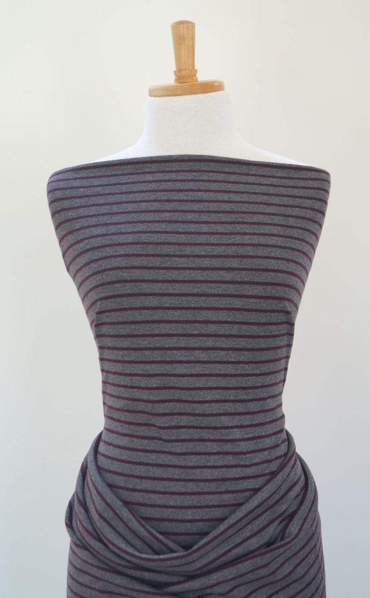 Striped grey ponte Roma jersey fabric with damson stripes, perfect for dresses.