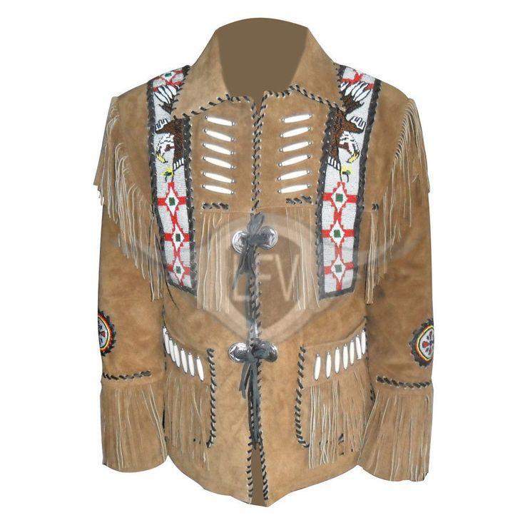 Men Suede Scally Western Leather Jacket Coat With Fringe