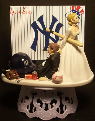 Haha! NEY YORK YANKEES BASEBALL Bride and Groom WEDDING CAKE TOPPER
