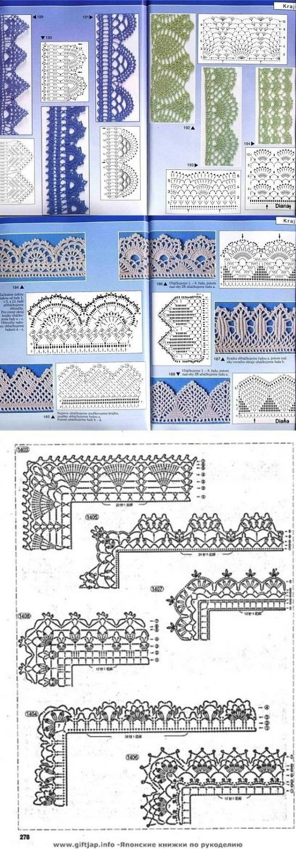 Many Free crochet edging diagram, chart patterns. by carlani