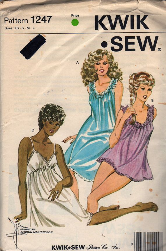 Kwik Sew 3426 Misses Baby Doll Pajamas Nightgown and Panties Patter womens vintage lingerie sewing pattern by mbchills on Etsy
