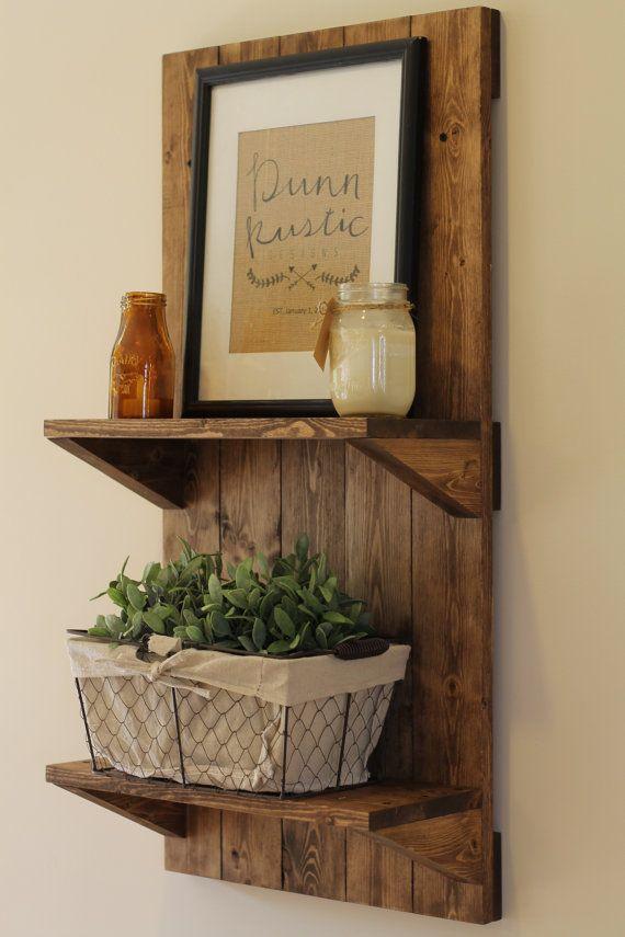 Étagère en bois rustique vertical, étagère rustique, meubles rustiques, étagère en bois, décoration rustique, étagère murale, étagère de salle de bain, cadeau de Noël