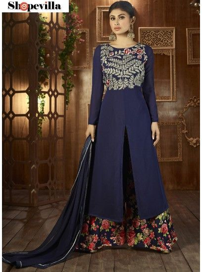 New Blue Georgette Palazzo Suit-12041