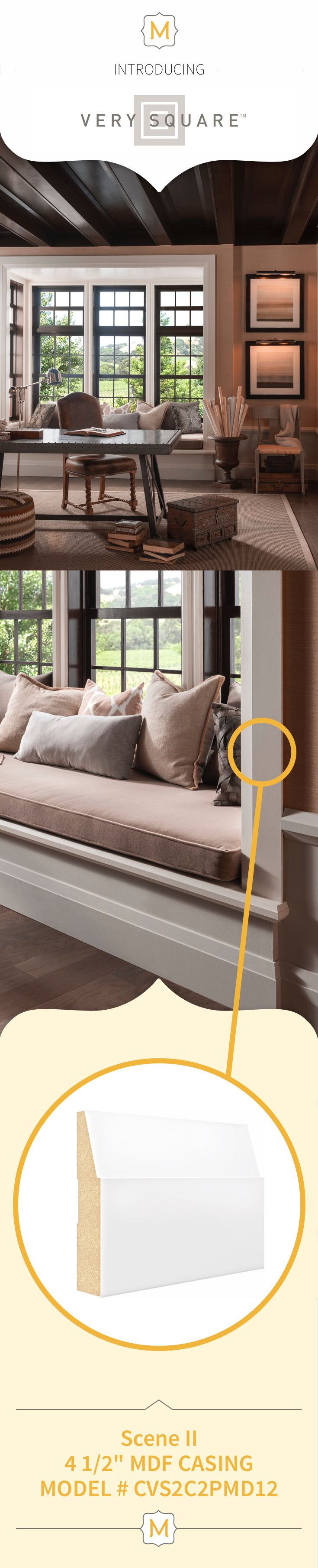 Metrie's Very Square Collection trim elements perfectly frame this dreamy window seat.