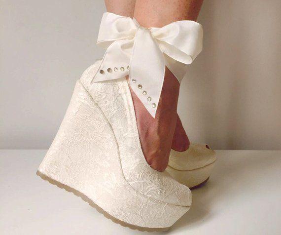 Wedding Wedding Shoes Bridal Wedge Shoesbridal Shoes Etsy Wedge Wedding Shoes Bridal Wedges Ivory Wedding Shoes