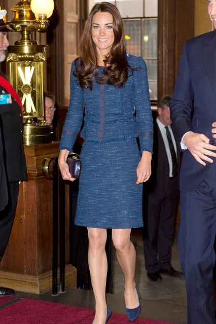 """Duchess of Cambridge April 26 2012 For a reception to honour the Scott-Amundsen Centenary Race to the South Pole, at London's Goldsmiths Hall, she wore a Rebecca Taylor skirt and matching jacket. On dressing the Duchess, Taylor said: """"I am a Catherine Middleton freak - ever since she came on the scene I said: 'I want to dress that girl.' It's a dream come true. She is a perfect model for our clothes. It fits her so well, it had a grown-up appeal - but it still looks youthful."""""""