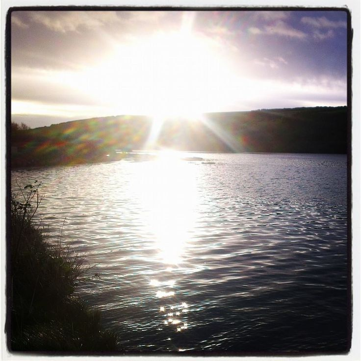 Newquay Gannel. Beautiful autumnal sun over hightide.