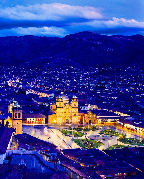 Cusco Cathedral at twilight, Cusco, Peru. The Cathedral Basilica of the Assumption of the Virgin, also known as Cusco Cathedral, is the mother church of the Roman Catholic Archdiocese of Cusco. The cathedral is located on the Plaza de Armas. (V)