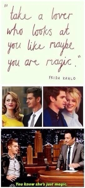 Emma Stone and Andrew Garfield are soul mates, I love them :)))