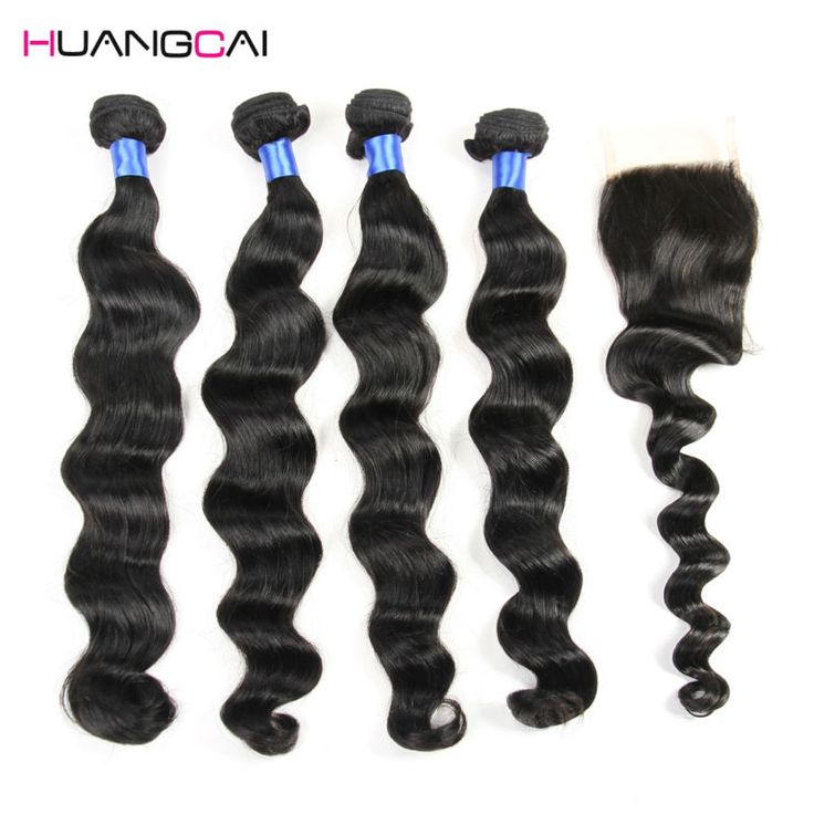 HuangCai hair 8a Malaysian virgin hair with closure loose wave with closure 4bundles malaysian virgin human hair with closure