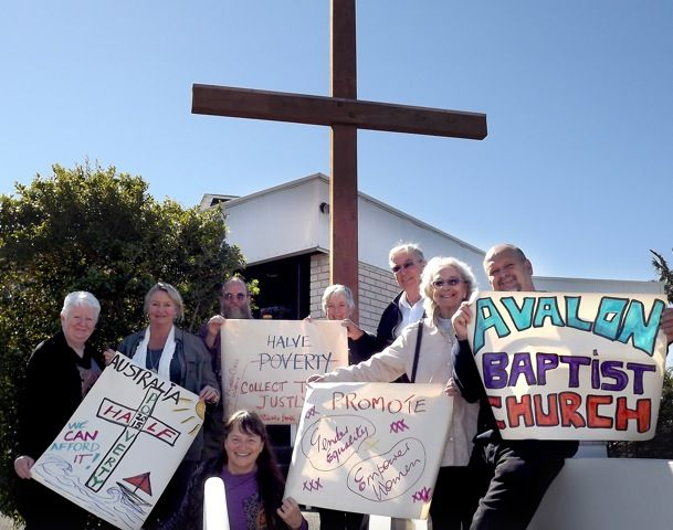 """Avalon Baptist Church shows their support of Finish the Race """"We spent our worship time on 25 August talking about our God who cares about justice and then about the MDG. We used your video as well as one from Make Poverty History. Then we made posters and took a picture of some of us the those posters. We also signed the petition. We will continue to push our government to give more."""""""