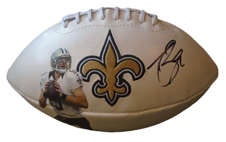 Drew Brees signed New Orleans Saints logo full size football w/ proof photo.  Proof photo of Drew signing will be included with your purchase along with a COA issued from Southwestconnection-Memorabilia, guaranteeing the item to pass authentication services from PSA/DNA or JSA. Free USPS shipping. www.AutographedwithProof.com is your one stop for autographed collectibles from Purdue Boilermakers & NCAA sports teams. Check back with us often, as we are always obtaining new items.