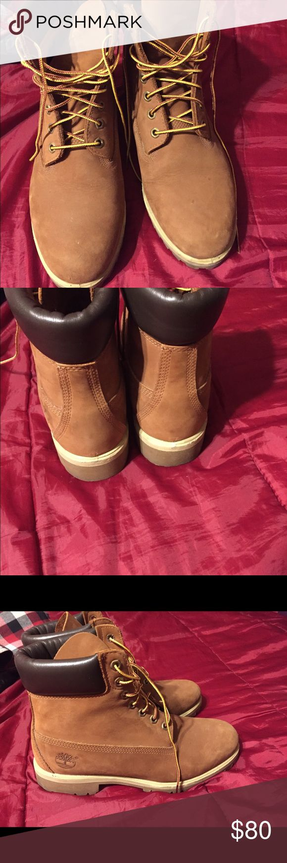 Men's Timberlands Men's Tan Timberlands!! Size 10 1/2 Great for winter ❄️ or work! Slightly dusty but nothing wrong with them. Timberland Shoes Winter & Rain Boots