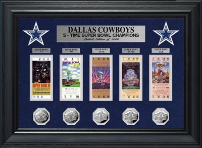 Dallas Cowboys Framed Super Bowl Ticket and Game Coin Collection. gotta get this for my dad