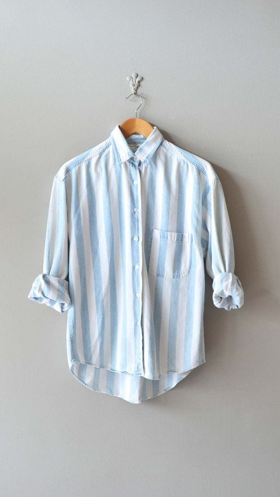 striped denim shirt / denim button down shirt / blue by DearGolden