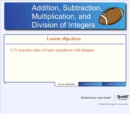 Smart Board Lesson: Addition, Subtraction, Multiplication, And Division Of  Integers
