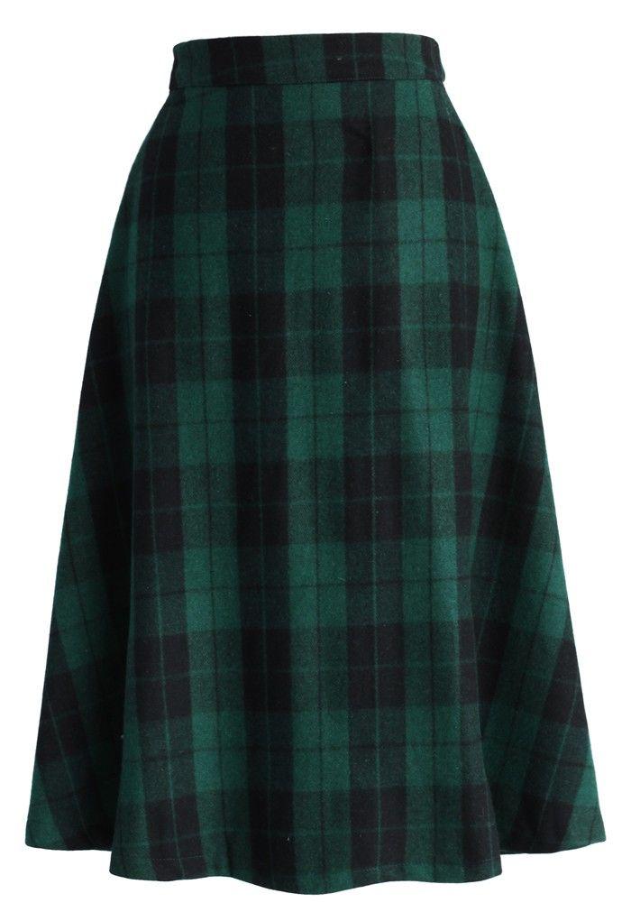 Green Tartan A-line Midi Skirt