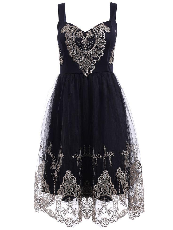 Elegant Straps Golden Lace Floral Embellished Dress For Women (черное платье с белой вышивкой можно купить с бесплатной доставкой в Россию) — http://fas.st/ItslzP