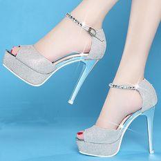 Giày cao gót quai đá CG536 (Bạc)