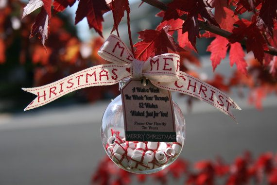 Christmas Ornament (customizable) Wishes for Christmas from your family to theirs ...  Unique Christmas Gift, $13.99