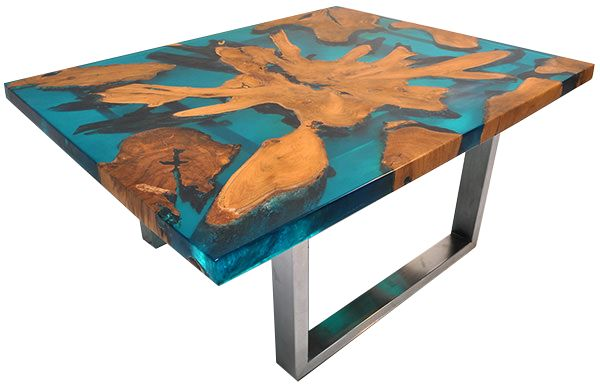 Teak Root and Resin table. A fabulous conversational art piece.