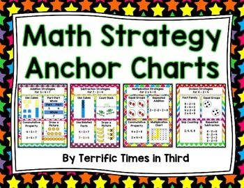 Here you will find four anchor charts that will give students strategies for addition, subtraction, multiplication and division. These anchor charts can be used on a classroom bulletin board, focus wall, or as handouts for students and parents. They are a great way to help students see that they are many different ways to solve a problem.