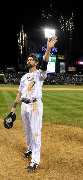 Todd Helton waves after his last game at Coors Field - Sept. 25, 2013