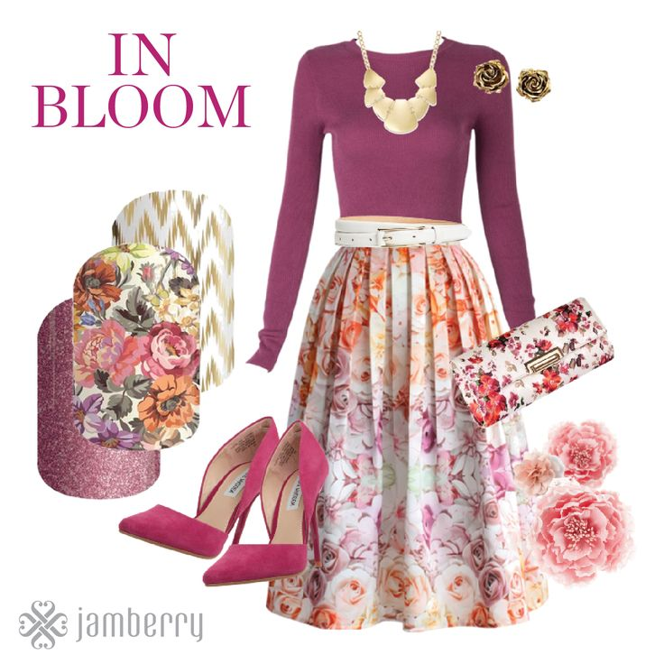 Floral Skirt and clutch, pink heels and a statement necklace paired with Jamberry Nail Wraps pull together this easy floral look! Jamberry wraps are Memory Lane, Edgy, and Pixie