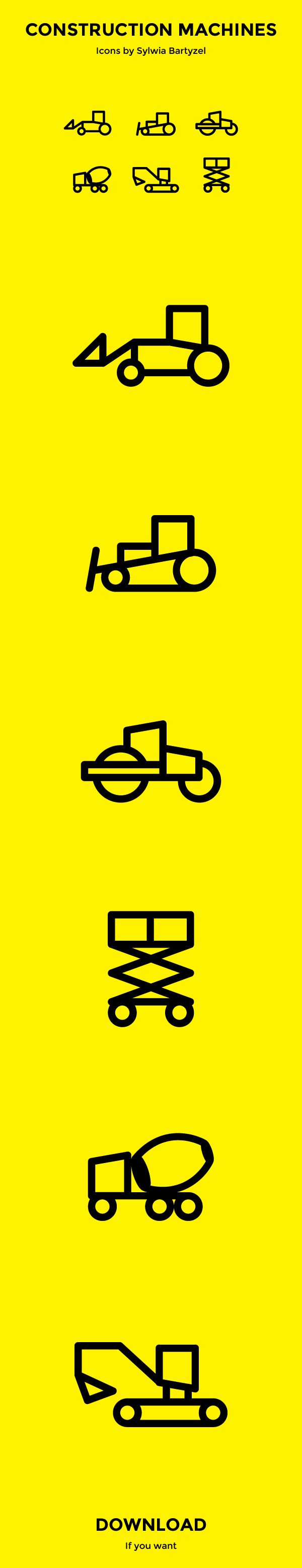 Construction Machines Icons -- These might be easier to recreate for this summer.
