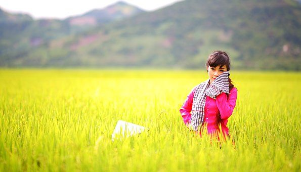 Campagne, Jeune Fille Asiatique