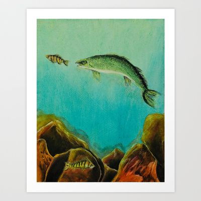 Underwater Predators panel 3 Art Print by jeannefischer - $22.88   Free shipping until Friday on all orders over $50