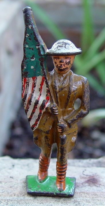 Vintage Metal Toy Flag Bearer Soldier Dough Boy With U S