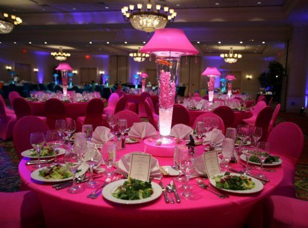 lighted lampshades and vases receptions hot pink and. Black Bedroom Furniture Sets. Home Design Ideas