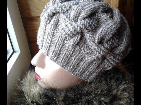 Шапка спицами из объемных кос. Часть 1 // Women's hats knitting - YouTube