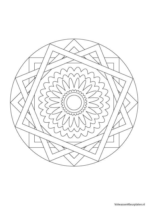 Volwassen kleurplaat mandala 2 | Volwassen kleurplaten