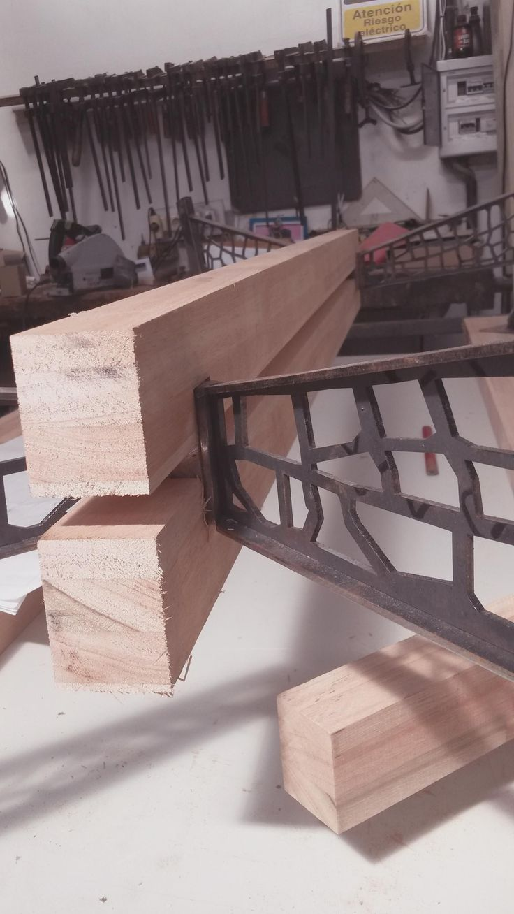 woodwork detail, steel and wood