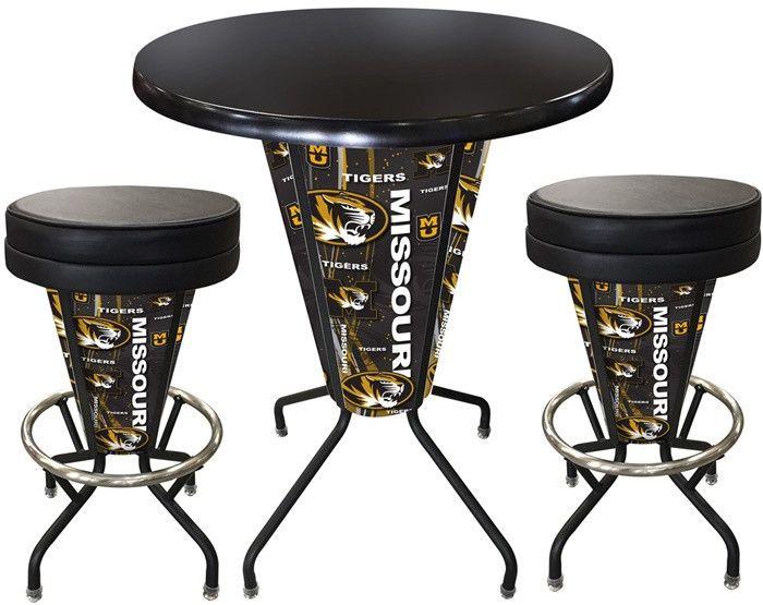 Missouri Tigers D1 Black Lighted Pub Table Set. Two additional Stools are optional. Visit SportsFansPlus.com for details.