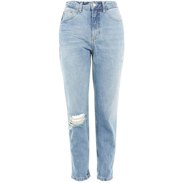 Topshop Petite Rip Mom Jeans ($54) ❤ liked on Polyvore featuring jeans, mid stone, topshop jeans, high waisted distressed jeans, cuffed jeans, folded jeans and high waisted destroyed jeans