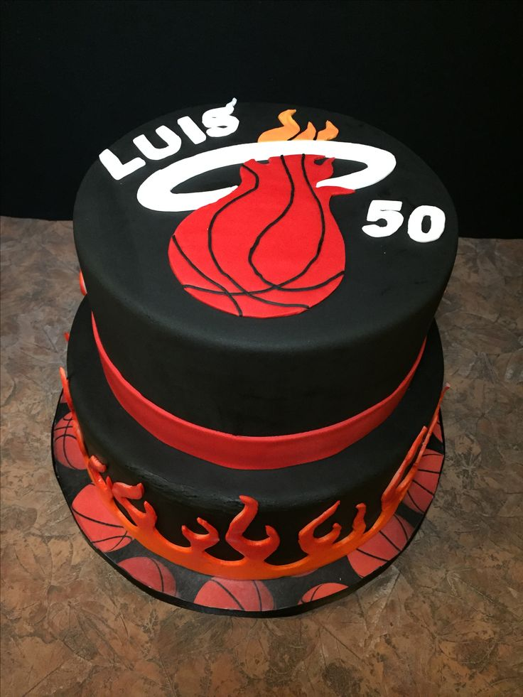 Luis's Miami Heat Cake. Lemon cake with lemon filling, fondant decorations.